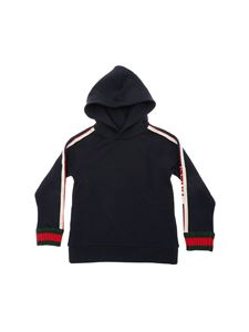 Gucci - Blue sweatshirt with beige and red stripes