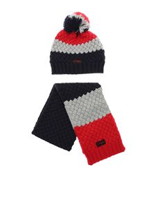 Emporio Armani - Blue and red set with cap and scarf