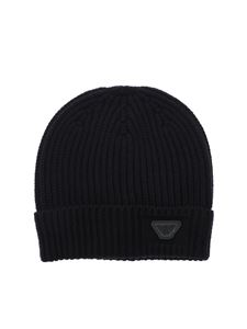 Emporio Armani - Blue beanie with logo