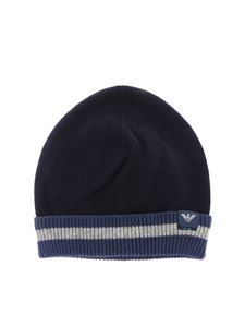 Emporio Armani - Blue cotton and wool beanie