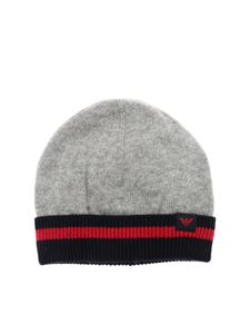 Emporio Armani - Grey cotton and wool beanie