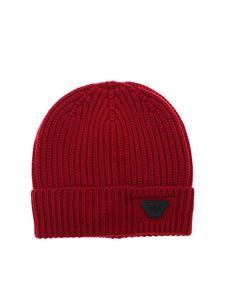 Emporio Armani - Red beanie with logo