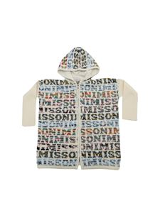 Missoni Kids - White cardigan with logo intarsia