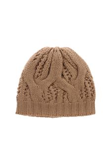 Kangra Cashmere - Camel colored beanie with braided motif