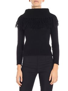 KI6? Who are you? - Black pullover with fringes