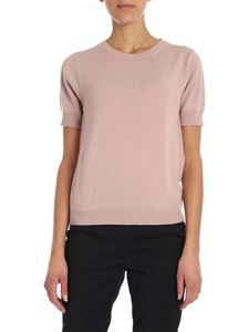 Kangra Cashmere - Pink crewneck pullover with short sleeves