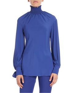 KI6? Who are you? - High collar blouse with blue dots