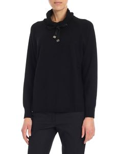 Kangra Cashmere - Black pullover with cowl neck