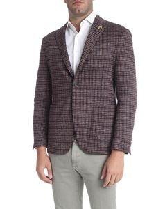 Lardini - Three-button brown and blue check jacket