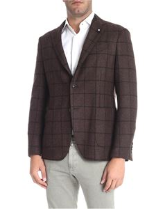 Lardini - Three buttons brown check jacket