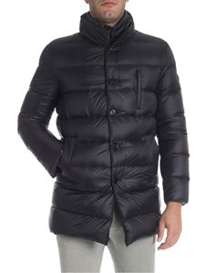 Fay - Black down jacket with blue insert