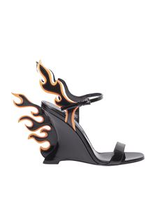 Prada - Patent leather sandals with flames