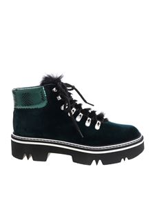Pollini - Green velvet ankle boots with fur