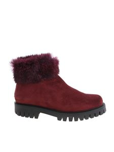 Pollini - Wine red ankle boots with fur insert