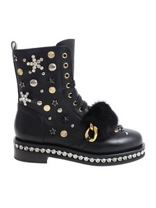 Le Silla - Black ankle boots with studs and rhinestones