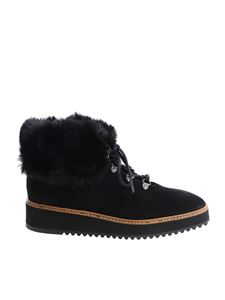 Castaner - Black ankle boots with fur insert