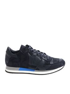 """Philippe Model - """"Tropez L"""" blue camouflage sneakers"""