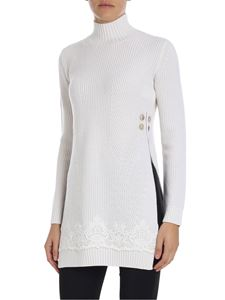 Ermanno by Ermanno Scervino - Long white pullover with lace insert