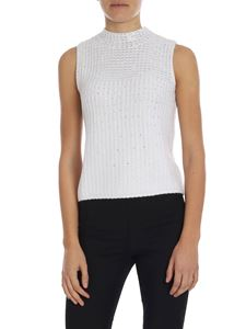 Ermanno by Ermanno Scervino - White sleeveless top with silver rhinestones