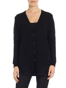 Ermanno by Ermanno Scervino - Black cardigan with lace inserts