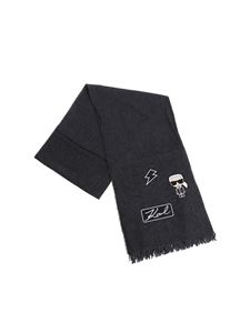 Karl Lagerfeld - Dark grey scarf with patches