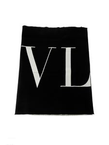 Valentino - Black scarf with logo
