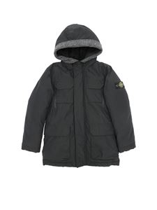 Stone Island Junior - Black down jacket with removable logo