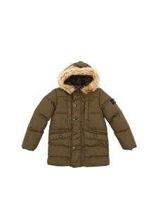 Stone Island Junior - Military green down jacket with removable logo
