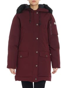 Kenzo - Burgundy down jacket with eco-fur detail