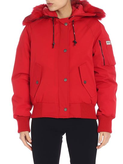Kenzo - Red down jacket with pocket on the sleeve