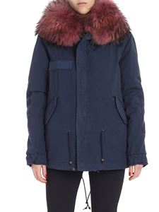 Mr&Mrs Italy - Blue parka coat with fur on the hood