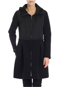 Es'Givien - Black scuba effect fabric coat
