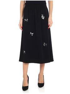 McQ Alexander Mcqueen - Black midi skirt with beads and sequins