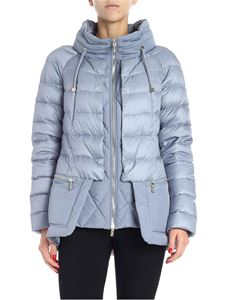 Diego M - Light blue down jacket with removable hood