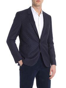 PS by Paul Smith - Blue geometric single button jacket