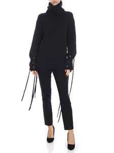 McQ Alexander Mcqueen - Black turtleneck sweater with laces