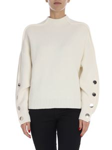 """Ba&sh - """"Astana"""" cream pullover with metal buttons"""
