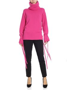 McQ Alexander Mcqueen - Bright pink turtleneck sweater with laces