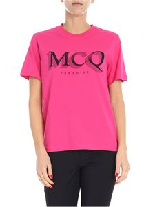 McQ Alexander Mcqueen - Bright pink crew-neck T-shirt with logo