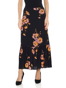 McQ Alexander Mcqueen - Black skirt with floral print
