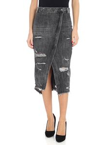 Onetaspoon - Grey skirt in vintage effect denim
