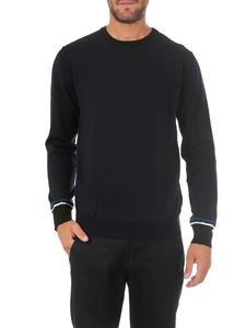 Dondup - Blue crew-neck pullover with stripes