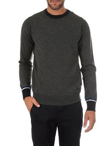 Dondup - Grey and black crew-neck pullover with stripes