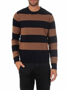 Dondup - Gray and black striped crewneck pullover