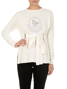 Moncler - Cream-colored knitted pullover with logo