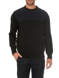 Dondup - Black and blue crew-neck pullover