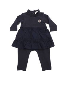 Moncler Jr - Blue romper with applied skirt
