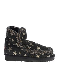 """Mou - Black """"Eskimo 18"""" ankle boots with golden stars"""