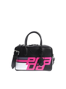 Prada - Black shoulder bag with bright pink logo print