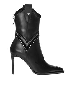 Dsquared2 - Black pointy boots with stitching